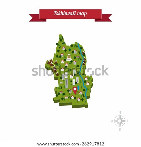 Tskhinvali South Ossetia Map Flat Style Stock Vector 262917812