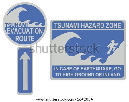 Tsunami evacuation route and hazard zone signs - stock vector