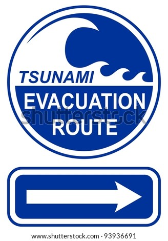 Tsunami Evacuation Route Sign - stock vector