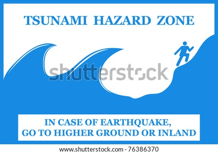 Tsunami hazard zone sign. Vector - stock vector