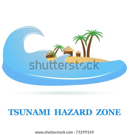 Tsunami Icon sign isolated on white. Vector