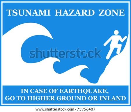Tsunami Information Sign - isolated on white. VECTOR - stock vector