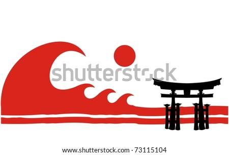 tsunami over japan - stock vector
