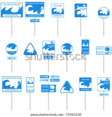 TSUNAMI Pole sign set isolated on white. Gives you information about the danger. Ready to print VECTOR - stock vector