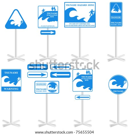 TSUNAMI sign Set: - isolated on white. Gives you information about the possible danger. Ready to print. VECTOR - stock vector