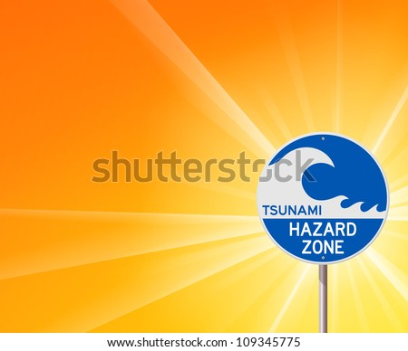 Tsunami Warning and Sunshine - Blue information notice with tsunami wave and yellow background