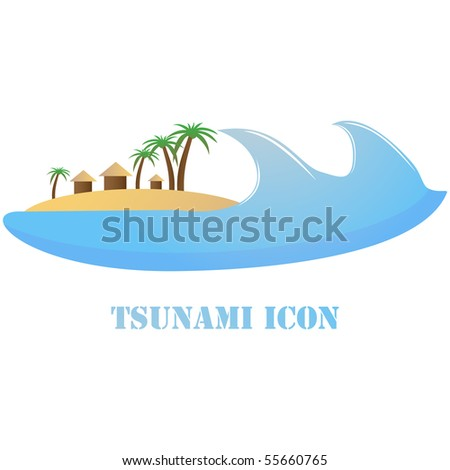 Tsunami warning icon, sign, symbol vector isolated on white - stock vector