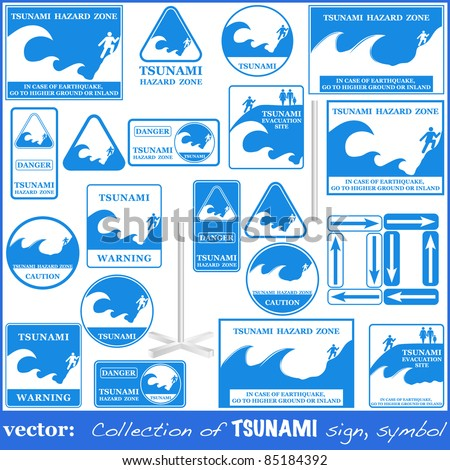 TSUNAMI warning sign set isolated on white. Gives you information about the possible wave destruction. Tsunami sign collection ready to print VECTOR - stock vector