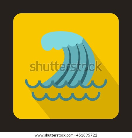 Tsunami wave icon in flat style on a yellow background - stock vector