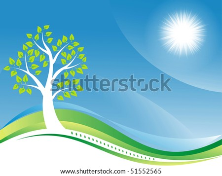 Ttree on a green blue background
