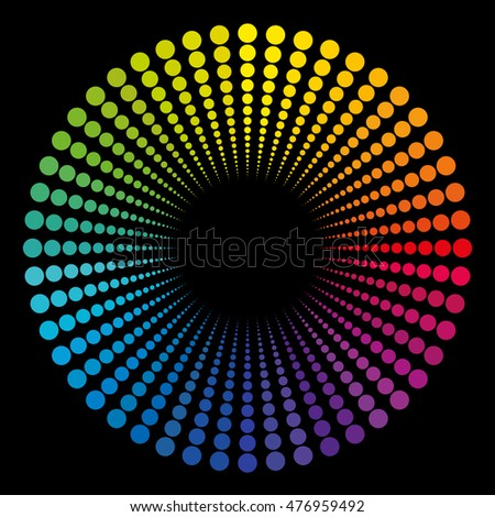 Tube composed of rainbow colored dots - circular pattern with black center.