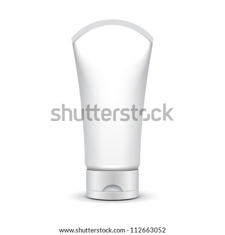 Tube Of Cream Or Gel Grayscale Silver White Clean On White Background Isolated: Vector EPS10 - stock vector