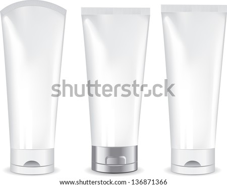 Tube Of Cream Or Gel Grayscale Silver White Clean. Ready For Your Design. - stock vector