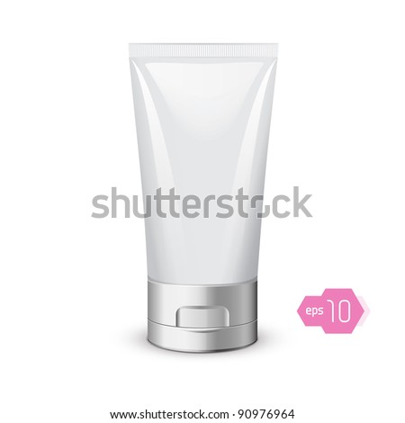 Tube Of Cream Or Gel Grayscale Silver White Clean: Vector Version - stock vector