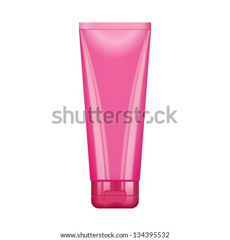 Tube Of Cream Or Gel Pink Clean. Ready For Your Design. Product Packing Vector EPS10 - stock vector