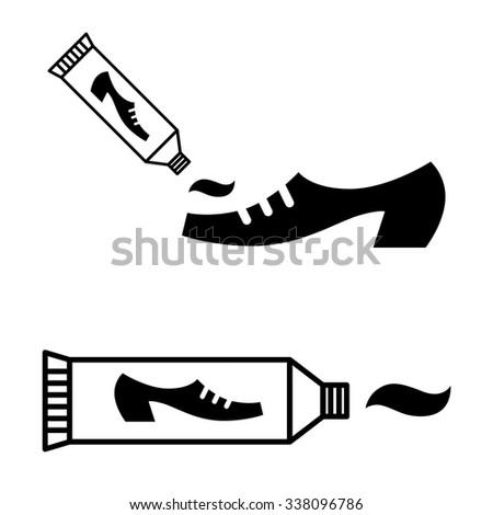 Tube of shoe polish cream - black and white icon - stock vector