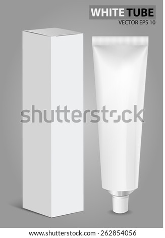Tube Of Toothpaste, Cream Or Gel  with box. Ready For Your Design. Product Packing Vector EPS10 - stock vector