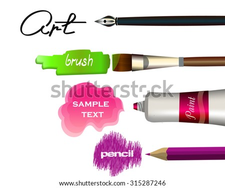 Tubes of paint, pencil, pen and paint brushes. Swatch, shading and drops of paint - stock vector