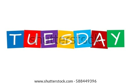 tuesday, text in colorful rotated squares