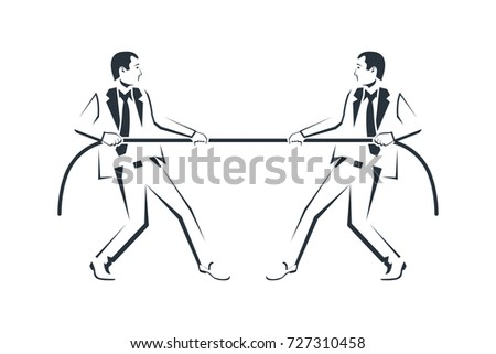 Tug Concept Silhouette Two Businessmen Suits Stock Photo Photo