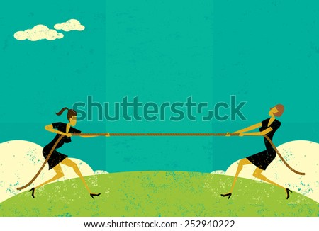 Tug of War Businesswomen competing for market share in a tug-of-war battle.The women and rope are on a separate labeled layer from background. - stock vector
