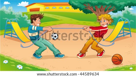 Tug of war with background. Funny cartoon and vector illustration. - stock vector