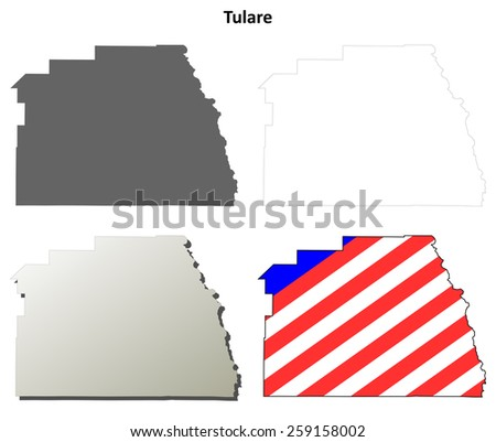Tulare County (California) outline map set - stock vector