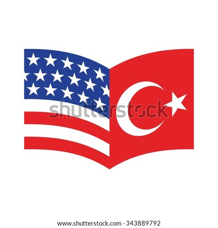 tulip logo with flag of US and turkey. logo vector.
