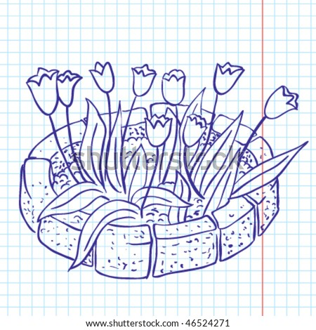 Tulip spring doodle, scrapbooking page