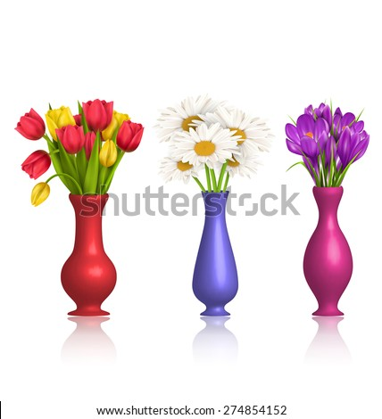 Tulips chamomiles and crocuses in vases with reflection on white background - stock vector