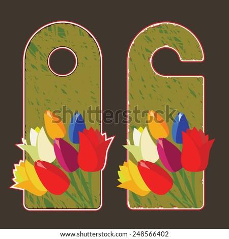 Tulips flower vector labels - stock vector