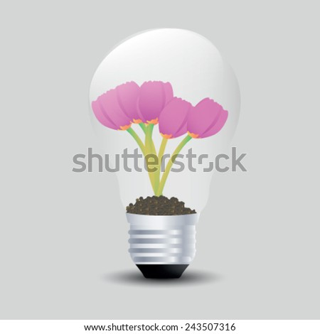 Tulips grow in a light bulb. Vector illustrations. - stock vector