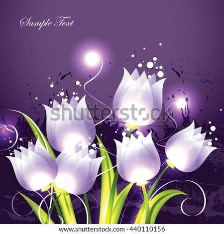 Tulips. Purple Vector Background. - stock vector