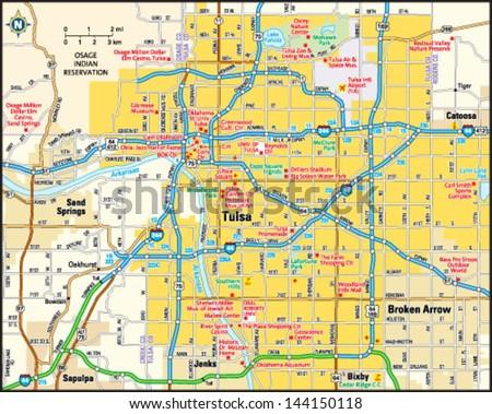 Tulsa Oklahoma Area Map Stock Vector 2018 144150118 Shutterstock
