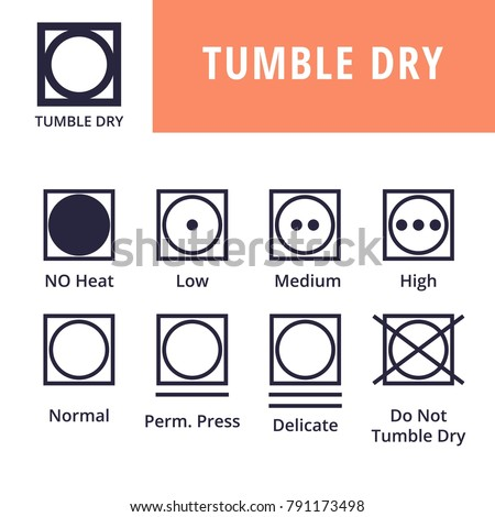 Tumble Dry Textile Care Symbols Stock Vector 791173498 Shutterstock