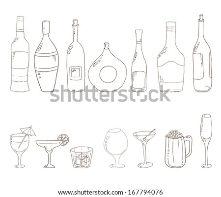 Tumblers set for alcohol drinks and cocktails. Sketch of wine bottles.Wine, martini, cognac, cherry, beer, champagne, glasses. - stock vector