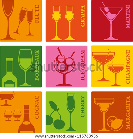 Tumblers set for alcohol drinks, cocktails and ice cream. - stock vector