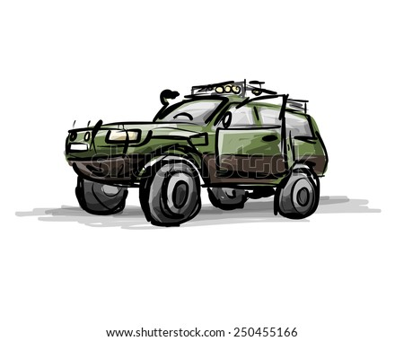 Tuned SUV, sketch for your design. Vector illustration - stock vector