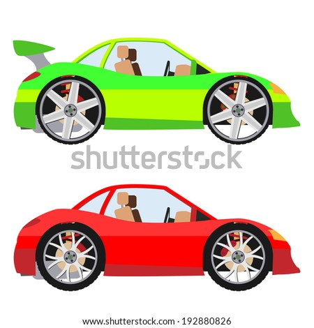Tuning cars set - stock vector