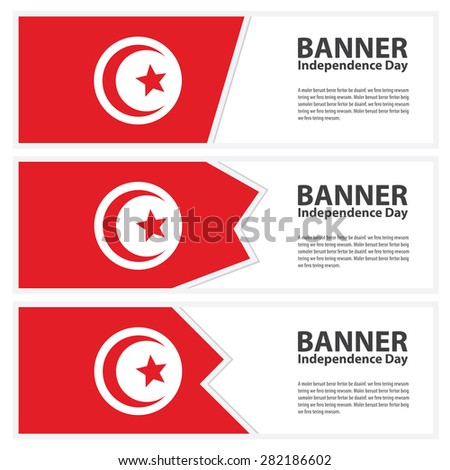 tunisia Flag banners collection independence day - stock vector