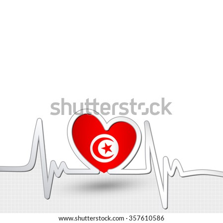 Tunisia heart and heartbeat line.Patriotic vector background.