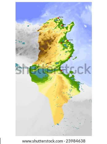 Tunisia. Physical vector map, colored according to elevation, with rivers and selected cities. Surrounding territory greyed out. 52 named layers, fully editable. Data source: NASA - stock vector