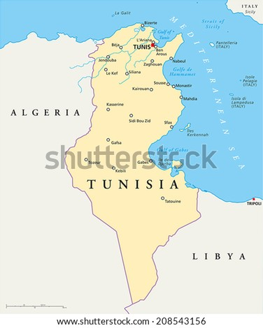 Tunisia Political Map with capital Tunis, national borders, most important cities, rivers and lakes. Vector illustration with English labeling and scaling. - stock vector