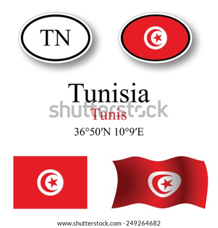 tunisia set against white background, abstract vector art illustration, image contains transparency - stock vector