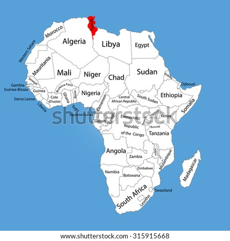Tunisia Vector Map Silhouette Isolated On Stock Vector (Royalty Free ...