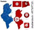 Tunisia vector set. Detailed country shape with region borders, flags and icons isolated on white background. - stock vector