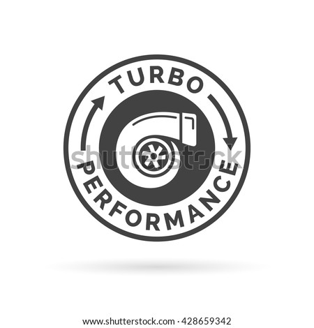 Turbo performance icon badge with car turbocharger compressor stamp symbol. Vector illustration. - stock vector