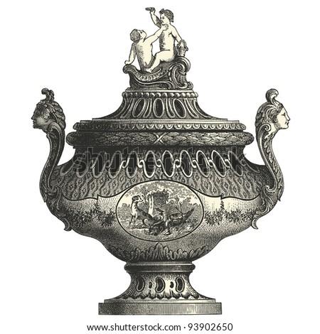 """Tureen  - vintage engraved illustration - """"L'industrie et l'art décoratif aux deux derniers siècles"""" ed. Firmin-Didot - Paris - stock vector"""