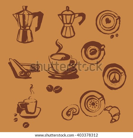 Turk coffee cup of coffee with coffee beans donut, cinnamon stick, vector, geyser coffee, cocoa - stock vector