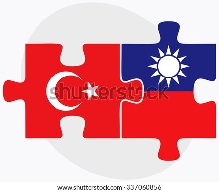 Turkey and Taiwan Flags in puzzle isolated on white background - stock vector